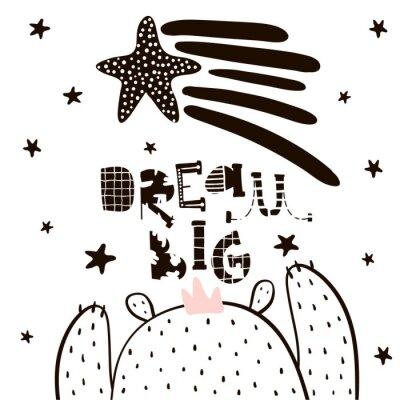 Fototapeta Dream Duże litery. Chłopiec Cute cartoon bear w stylu skandynawskim. Dziecięcy nadruk do przedszkola, odzieży dziecięcej, plakat, pocztówka. Ilustracja wektora