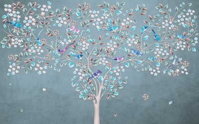 Fototapeta Dreamlike thin flowering tree with blue and green leaves and birds sitting on branches against a dark spotty background