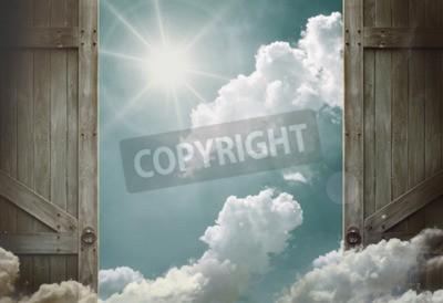 Fototapeta drewniane drzwi otwarte do nieba nieba