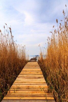 Fototapeta Drewniane molo w spokojne jezioro Balaton