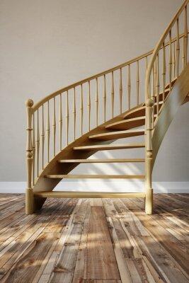 Fototapeta Drewniane schody w pokoju