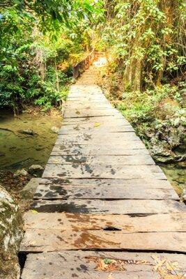 Fototapeta Drewniane ścieżki nad wodospad w lesie.