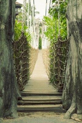 Fototapeta Drewniany most linowy