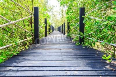 Fototapeta Drewniany most w parku w odległości do morza