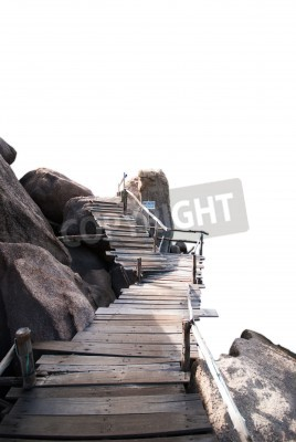 Fototapeta Drewniany most w skale, Islandia Nangyuan, Tajlandia