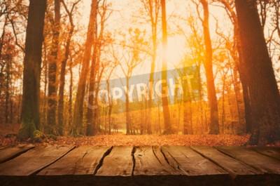 Fototapeta Drewniany stół. Jesienią projektu z spadających liści w lesie i pustym ekranie. Wpisanie montażu. Sezon jesień tle