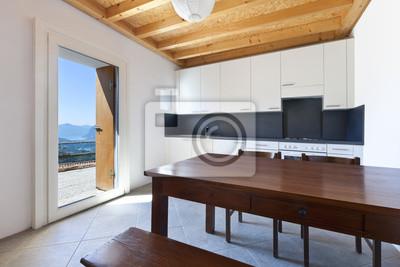 Drewnianym Stole W Kuchni Wnętrze Domu Wiejskiego Fototapety Redro