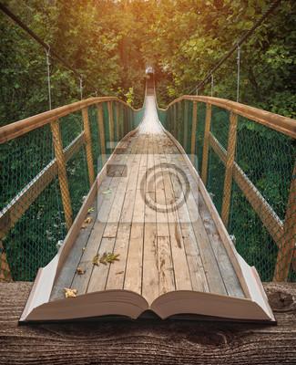 Fototapeta Droga przez most w lesie na stronach książki