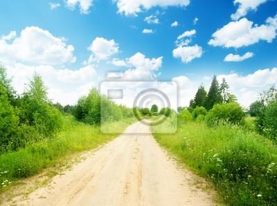 Fototapeta Droga ziemia i słoneczny dzień