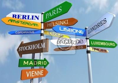 Fototapeta drogowskazy z nazwą miast europejskich