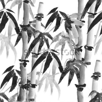 Fototapeta drukuj wzór z bambusa w stylu japońskim na białym tle