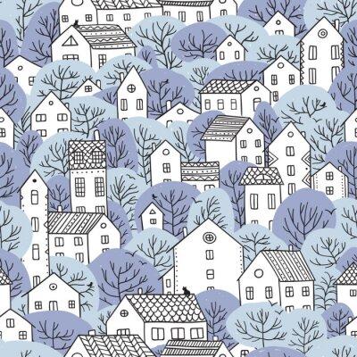 Fototapeta drzewa i domy bez szwu wzór zimowe światło niebieskie kolory