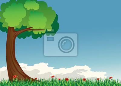 drzewa z trawy i maku