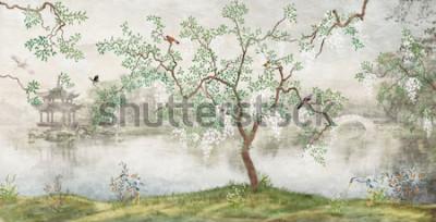 Fototapeta Drzewo nad jeziorem. Mglisty krajobraz. Drzewo z ptakami w japońskim ogródzie. mural, Tapeta do drukowania wnętrz