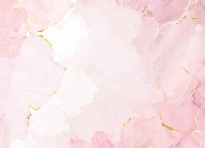 Fototapeta Dusty rose and golden marble geode frame. Spring wedding invitation.