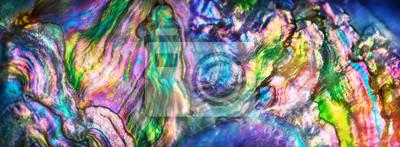 Fototapeta Duże powiększenie makro natury tekstury perłowej muszli. Tęcza barwi abstrakcjonistycznego tła zakończenie.