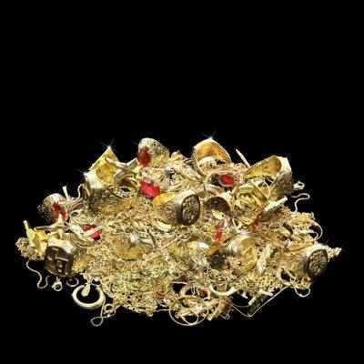 Fototapeta Dużo biżuterii ze złota