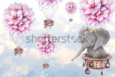 Fototapeta duży słoń z kwiatami balonu na ogrzane powietrze na niebie akwarela tapeta 3d