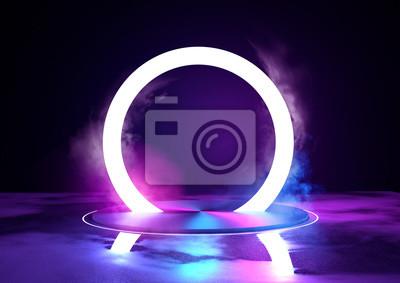 Fototapeta Duży świecący sircle pętli, futuristc tła z platformy. 3D ilustracji.