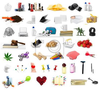 Fototapeta duży zbiór różnych obiektów na białym tle