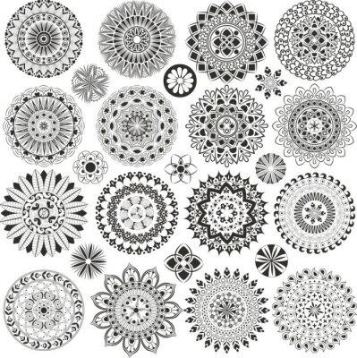 Fototapeta Duży zestaw mandali i kwiatów