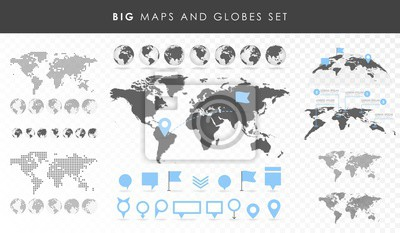 Fototapeta Duży zestaw mapy i globusy. Kolekcja szpilki. Różnych efektów. Transparent Vector