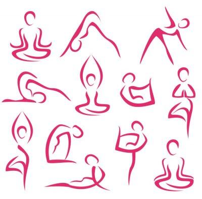 Fototapeta duży zestaw symboli jogi