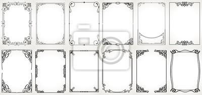 Fototapeta Duży zestaw szablonów dekoracyjne ramki vintage, graniczy prostokątny kształt. Stare tła.