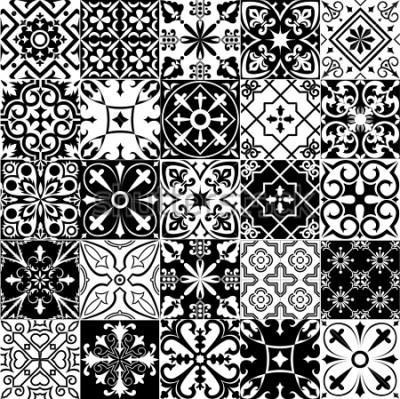 Fototapeta Duży zestaw tła w czerni i bieli. Do tapet, tła, jego projektu, ceramiki, wypełnienia strony i więcej. Wersja rastrowa.