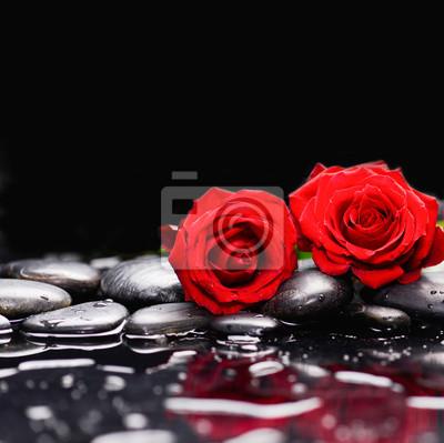 Dwa czerwona róża i terapii kamienie czarne tło