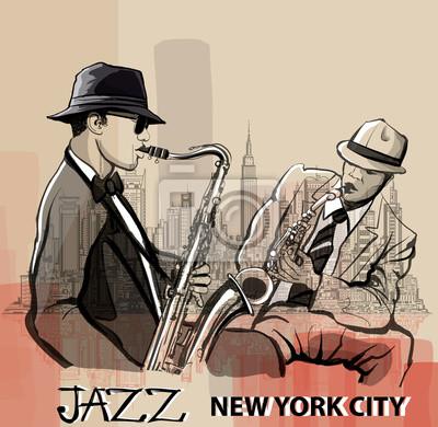Dwa jazzowy saksofonista grając w Nowym Jorku