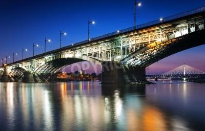 Fototapeta Dwa mosty świetlne w Warsaw.Poniatowski mostu i Świętokrzyskim