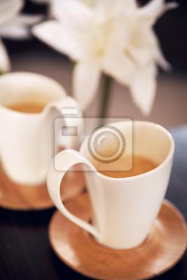 Dwa piękne filiżanki cappuccino