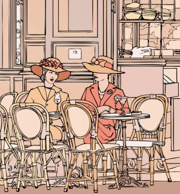 Fototapeta dwie eleganckie paryskie kobiety o koktajl w kawiarni