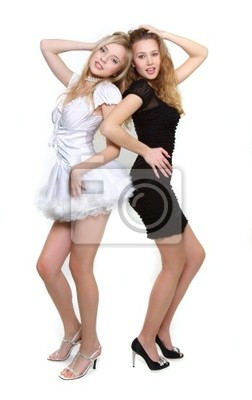e381a658ee Fototapeta dwie młode dziewczyny sexy w czerni i bieli na wymiar ...