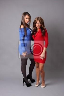954c23fd72 Fototapeta Dwie piękne dziewczyny na sobie kolorowe sukienki. na ...