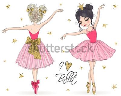 Fototapeta Dwie ręcznie rysowane piękne, urocze, małe dziewczynki baleriny. Ilustracji wektorowych.