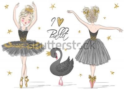 Fototapeta Dwie ręcznie rysowane śliczne, śliczne, małe dziewczynki baleriny z czarnym łabędziem. Ilustracji wektorowych.