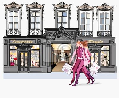 Dwóch młodych modne kobiety zakupy
