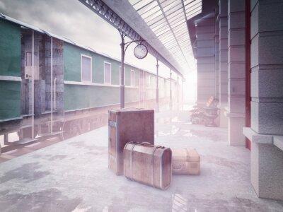 Fototapeta Dworzec kolejowy retro