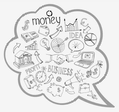 Fototapeta Dymka z ikon biznesowych i pieniędzy
