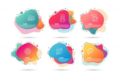 Fototapeta Dynamic liquid shapes. Set of Architectural plan, Report and Waiting icons. Woman sign. Technical project, Work statistics, Service time. Girl profile.  Gradient banners. Fluid abstract shapes. Vector