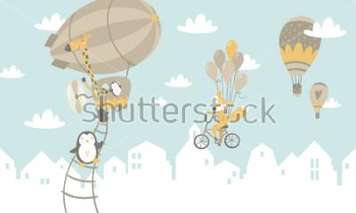 Fototapeta Dzieci graficzne ilustracja. Wykorzystanie do montażu na ścianie, poduszek, dekoracji wnętrz dla dzieci, ubrań dla dzieci i koszul, kart okolicznościowych, wektorów i innych