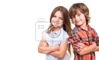 Fototapeta Dzieci stwarzających nad białym