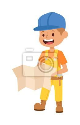 Fototapeta Wektor znaków budowniczy dziecko, cute budowy