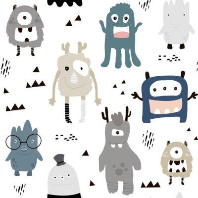 Fototapeta Dziecinna szwu z potworami cute chłopców. Modny skandynawski tło wektor. Idealny do odzieży dziecięcej, tkanin, tkanin, dekoracji przedszkolnych, papieru do pakowania