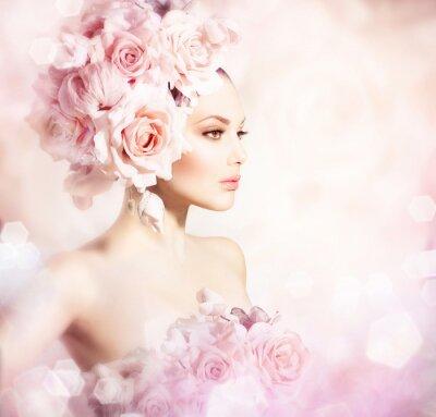 Fototapeta Dziewczyna Beauty Hair Fashion Model z kwiatów. Panna młoda