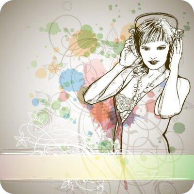 Fototapeta Dziewczyna DJ & music mix kolorów - kwiatowy ornament kaligrafia -chlew