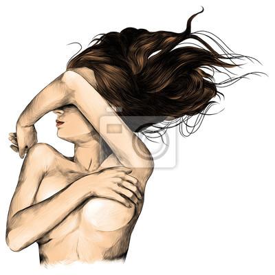 Fototapeta dziewczyna leży naga pasja erotyczny szkic grafiki wektorowej kolor obrazu