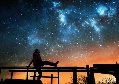Fototapeta Dziewczyna ogląda gwiazdy